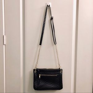 Black/Gold Textured Faux Leather Crossbody Bag